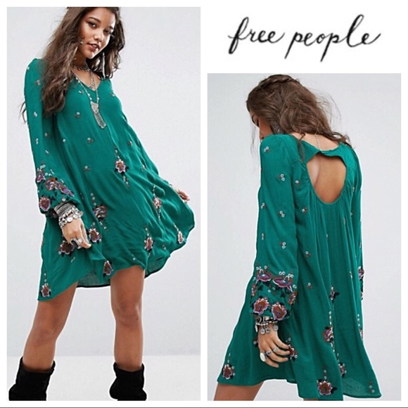 fb2ace531a2a2 Free People Dresses | Green Floral Embroidered Minidress | Poshmark
